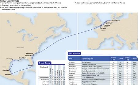 运费报价-美国总统轮船新推大西洋湾快航AGX服务